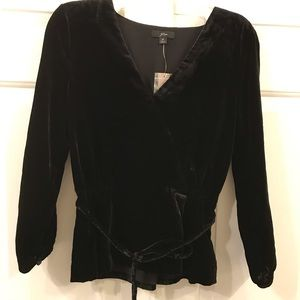 JCrew black velvet top